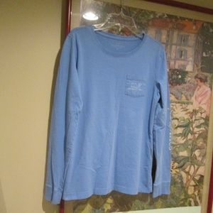 vineyard vines blue LS whale pocket T shirt